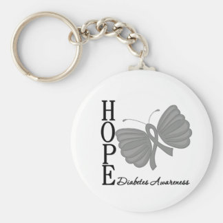 Hope Butterfly Diabetes Basic Round Button Keychain