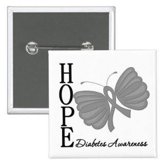 Hope Butterfly Diabetes Buttons