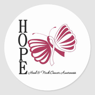 Hope Butterfly Head and Neck Cancer Classic Round Sticker