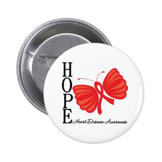 Hope Butterfly Heart Disease 2 Inch Round Button