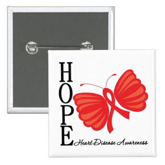 Hope Butterfly Heart Disease 2 Inch Square Button