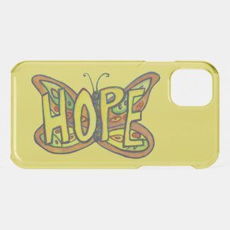 Hope Butterfly Inspirational Word Art iPhone Cases
