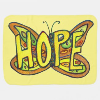 Hope Butterfly Inspirational Word Art Soft Blanket