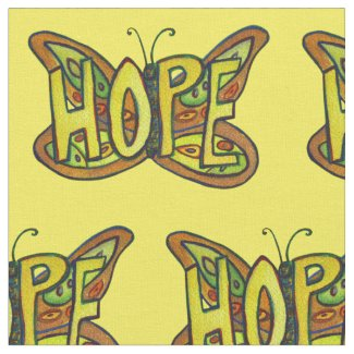 Hope Butterfly Inspirational Word Fabric Material