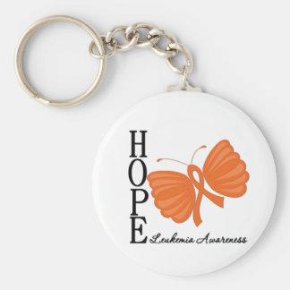 Hope Butterfly Leukemia Basic Round Button Keychain