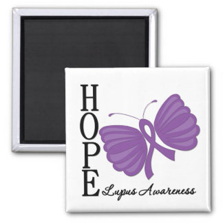 Hope Butterfly Lupus 2 Inch Square Magnet