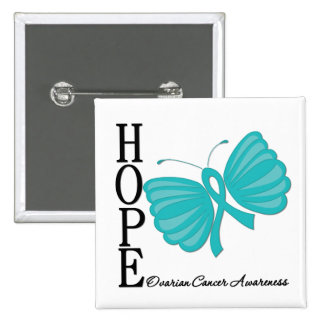 Hope Butterfly Ovarian Cancer Pinback Button