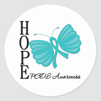 Hope Butterfly PCOS Classic Round Sticker