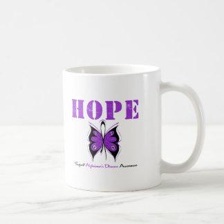 Hope Butterfly Purple Ribbon Alzheimer's Disease Classic White Coffee Mug