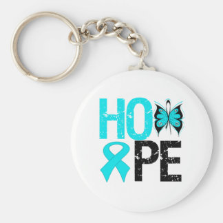 HOPE Butterfly Ribbon Addiction Recovery Basic Round Button Keychain