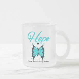 Hope Butterfly Ribbon Addiction Recovery 10 Oz Frosted Glass Coffee Mug