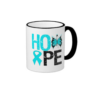HOPE Butterfly Ribbon Addiction Recovery Ringer Coffee Mug