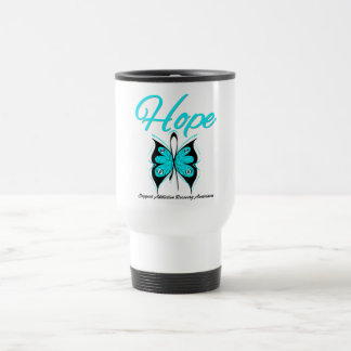 Hope Butterfly Ribbon Addiction Recovery 15 Oz Stainless Steel Travel Mug