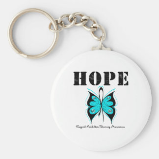 HOPE Butterfly Ribbon Addicton Recovery Basic Round Button Keychain