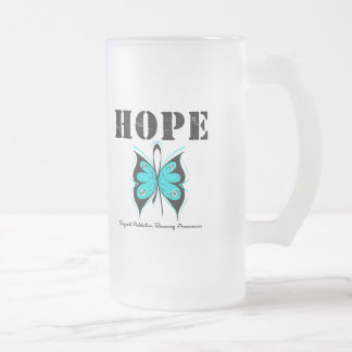 HOPE Butterfly Ribbon Addicton Recovery 16 Oz Frosted Glass Beer Mug