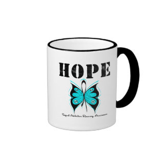 HOPE Butterfly Ribbon Addicton Recovery Ringer Coffee Mug