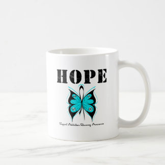 HOPE Butterfly Ribbon Addicton Recovery Classic White Coffee Mug