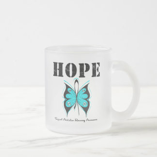 HOPE Butterfly Ribbon Addicton Recovery 10 Oz Frosted Glass Coffee Mug