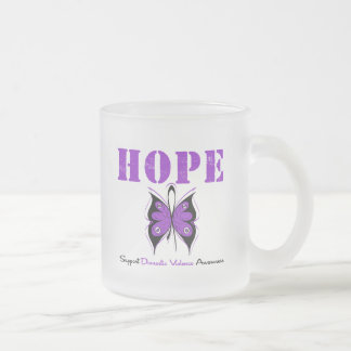 Hope Butterfly Ribbon Domestic Violence 10 Oz Frosted Glass Coffee Mug
