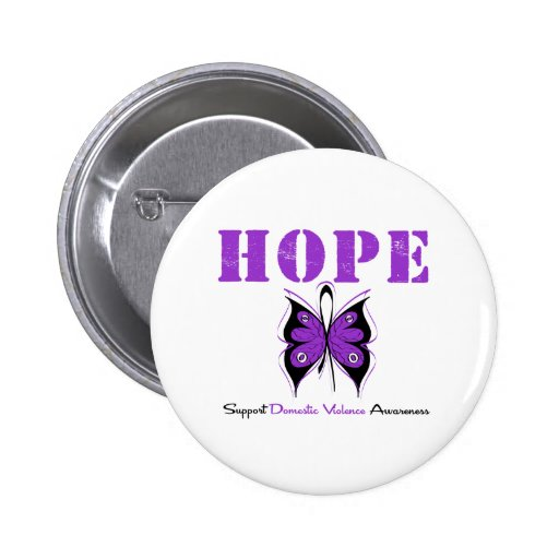 Hope Butterfly Ribbon Domestic Violence Button
