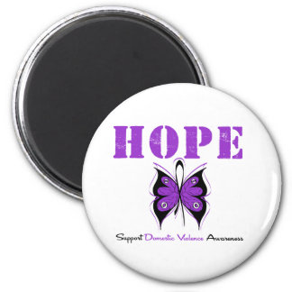Hope Butterfly Ribbon Domestic Violence Magnets