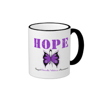 Hope Butterfly Ribbon Domestic Violence Ringer Coffee Mug
