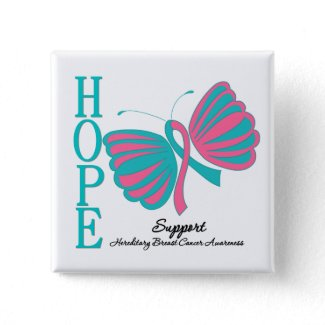 Hope Butterfly Ribbon Hereditary Breast Cancer button