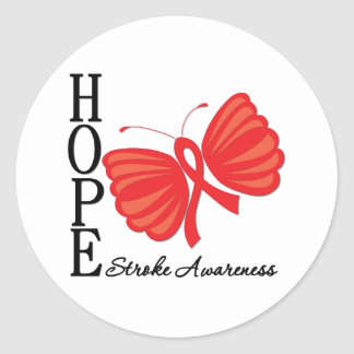 Hope Butterfly Stroke Awareness Classic Round Sticker