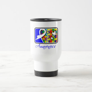 Hope Butterfly Tile Card Autism 15 Oz Stainless Steel Travel Mug