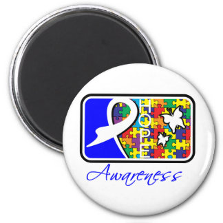 Hope Butterfly Tile Card Autism 2 Inch Round Magnet
