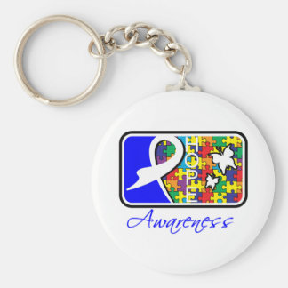 Hope Butterfly Tile Card Autism Basic Round Button Keychain