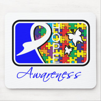 Hope Butterfly Tile Card Autism Mouse Pad