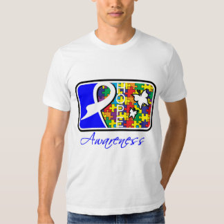 Hope Butterfly Tile Card Autism Tee Shirts