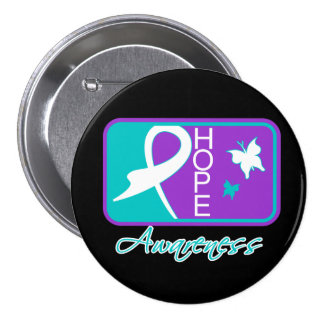 Hope Butterfly Tile Card Domestic Violence Pinback Button