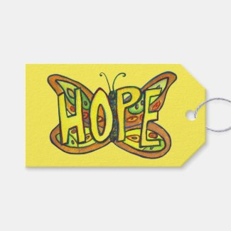 Hope Butterfly Word Art Custom Card Gift Tags