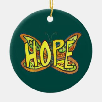 Hope Butterfly Word Art Gift Holiday Ornament