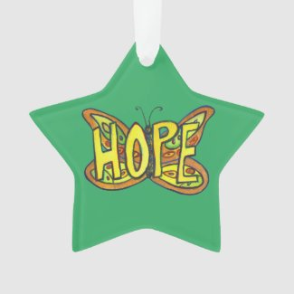 Hope Butterfly Word Art Gift Holiday Ornaments