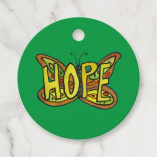 Hope Butterfly Word Art Inspirational Gift Tags