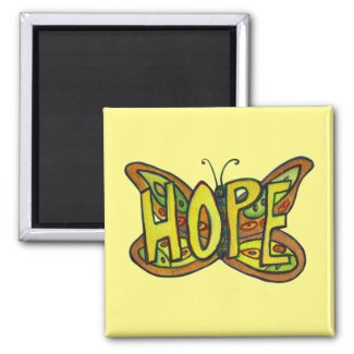 Hope Butterfly Word Art Inspirational Magnet
