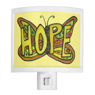 Hope Butterfly Word Art Inspirational Night Light