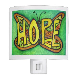 Hope Butterfly Word Art Inspirational Night Lights