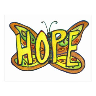Hope Butterfly Word Art Inspirational Postcard