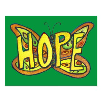 Hope Butterfly Word Art Inspirational Postcards