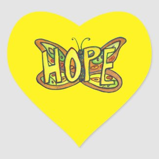 Hope Butterfly Word Art Inspirational Stickers