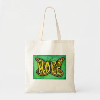 Hope Butterfly Word Art Inspirational Tote Bags