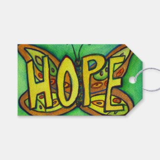 Hope Butterfly Word Custom Card Gift Tags