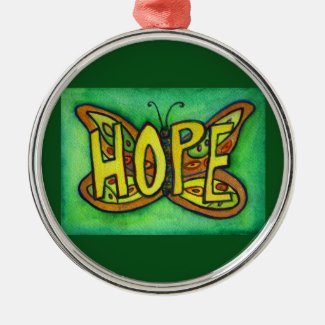 Hope Butterfly Word Gift Holiday Ornament