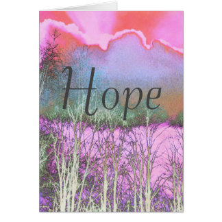 Hope card with grey cloud in pink sky.