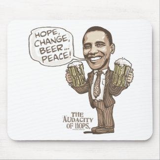 Hope, Change, Beer... Peace Barack Obama Mouse Pad