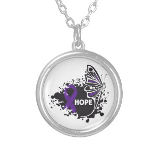 Hope Chiari Malformation Butterfly Round Pendant Necklace